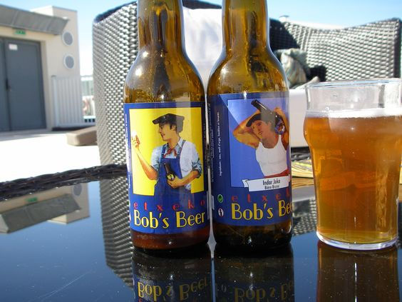Etxeko Bob's beer - served to us in Biarritz France. Couldn't resist a picture