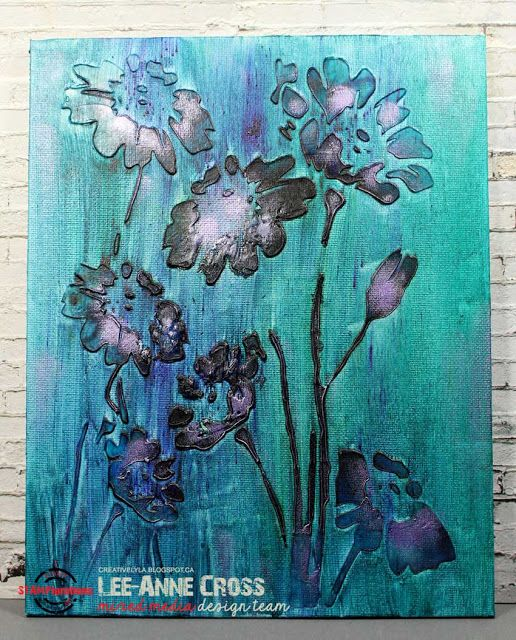 ARTplorations Happy Flowers (Large) stencil on canvas with Brushos and Inka Gold