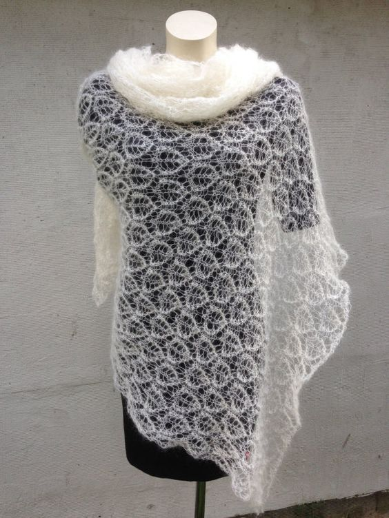 Lightweight lace mohair shawl fine mohair scarf von Surseknitter
