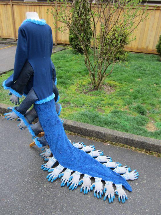wär das nicht ne idee für euch zu fasching? Upcyled Caterpillar Tailcoat - Repurposed Blazer and Work Gloves - Artwear Clothing, Scrap Art Couture Endure Upcycled Designs by Karen