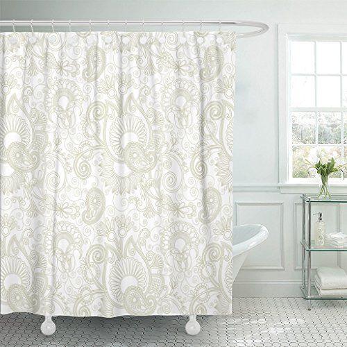 Breezat Shower Curtain Henna Vintage Floral Paisley Patte Https