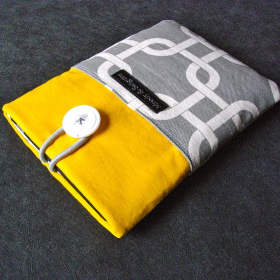 ereader sleeve  yellow grey graphic by moodyandsanguine on Etsy, $22.00