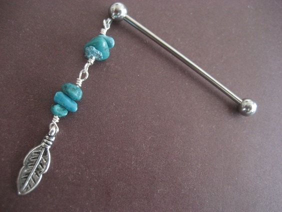 Turquoise Feather Industrial Barbell Piercing by Azeetadesigns, $14.00