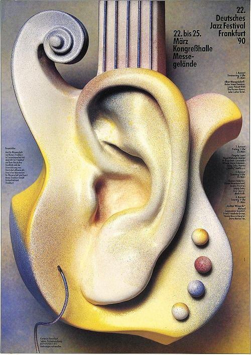 Günther Kieser, Poster artwork for German Jazz Festival, Frankfurt, 1990 #poster #graphicdesign