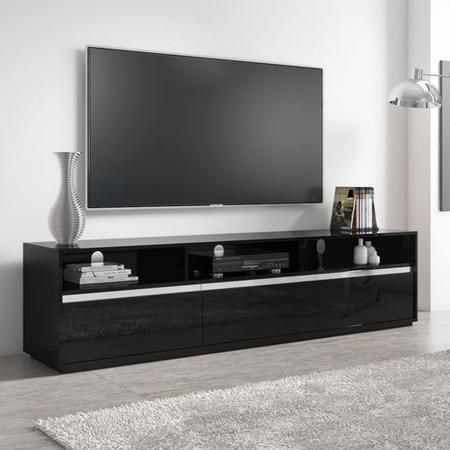 Neo Black High Gloss Extra Large Tv Unit Stand With Sound Bar