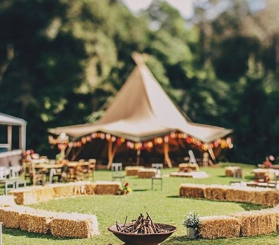 Tipi Wedding!!! liking this circular layout.... and the sunny weather !!!!                                                                                                                                                     More