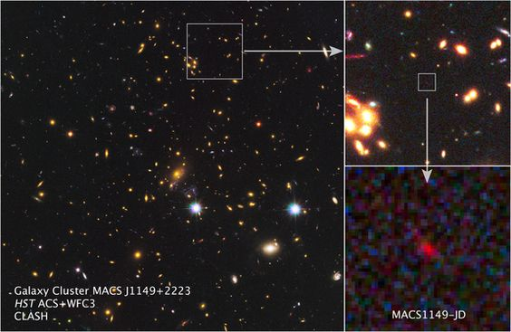 Farthest, oldest galaxy yet is revealed by cosmic lens