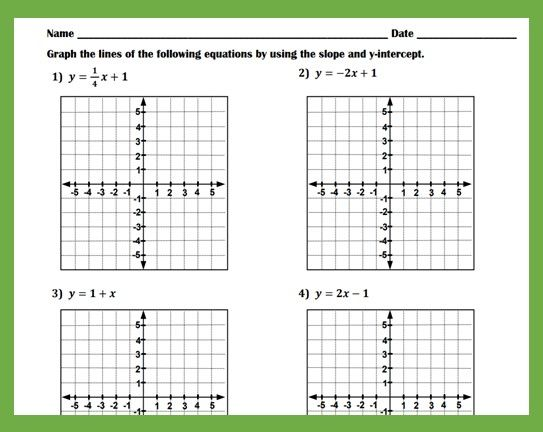 Graphing Linear Equations With The Slope And Y-intercept Worksheet  Graphing Linear Equations, Equations, Writing Linear Equations