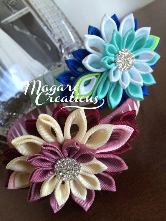 Diademas de niña kanzashi diadema rosa diadema por MagaroCreations