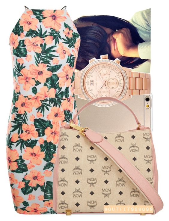 """""""I know honey bunny that's the funny thing 8/23/15"""" by mskaylamosley ❤ liked on Polyvore featuring Michael Kors, Boohoo and MCM"""