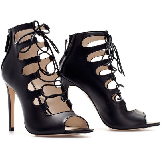 Black Lace Up Heels Zara | Tsaa Heel