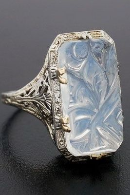 vintage carved moonstone ring // circa 1920