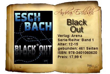 """Mit """"Black out"""" hat Andreas Eschbach eine solide Basis für seine Trilogie gelegt. Eine nicht ganz abwegige Grundidee, spannende und logisch aufgebaute Handlungen verschafften mir einen hohen Lesegenuss.   Für alle Fans realer Bezüge, die sich fortschreitender Digitalisierung nicht verschließen, hierbei ein """"Back-to-the-Roots""""-Gefühl nicht missen mögen und Verschwörungstheorien aufgeschlossen gegenüber stehen."""