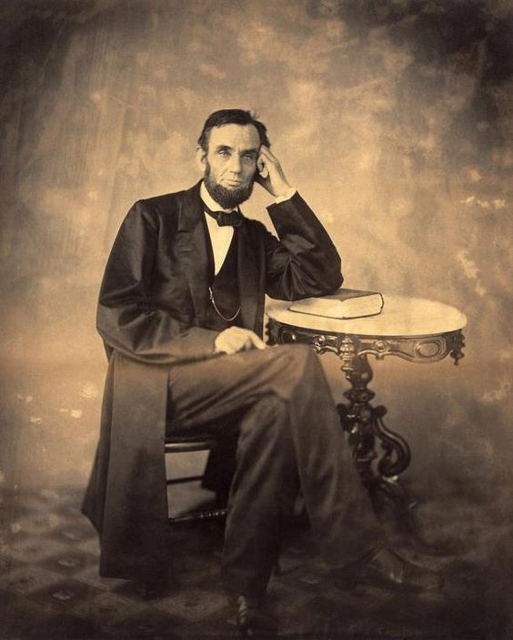 Beautiful portrait of President Lincoln looking relaxed and confident by Alexander Gardner (c. 1863). *s*: