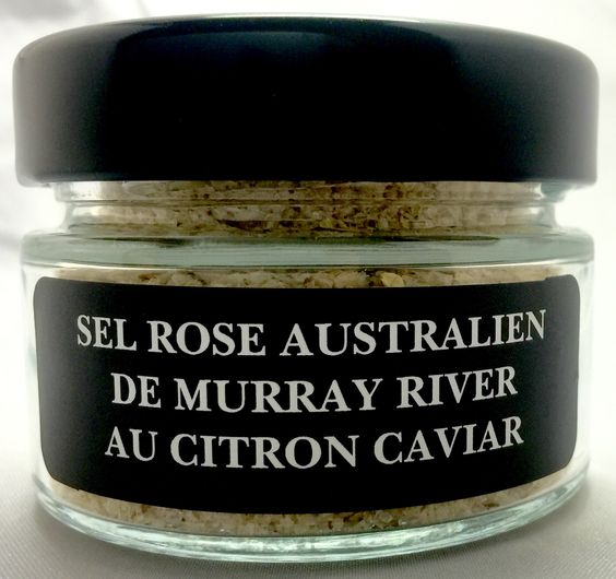 Australian pink salt from Murray River with finger limes
