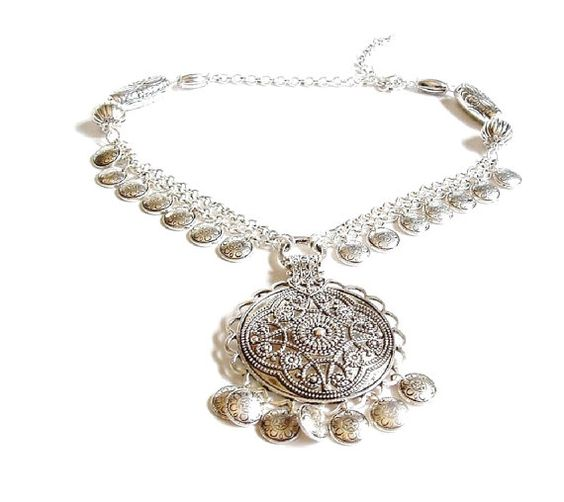 Vintage Avon Necklace , Silver Medallion , Statement Necklace , Large Silver Pendant  , Dangle Charms