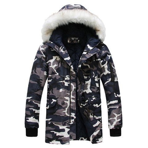 Fashion Style Faux Fur Embellished Hooded Zipper Design Long Sleeves Men's Camouflage Coat