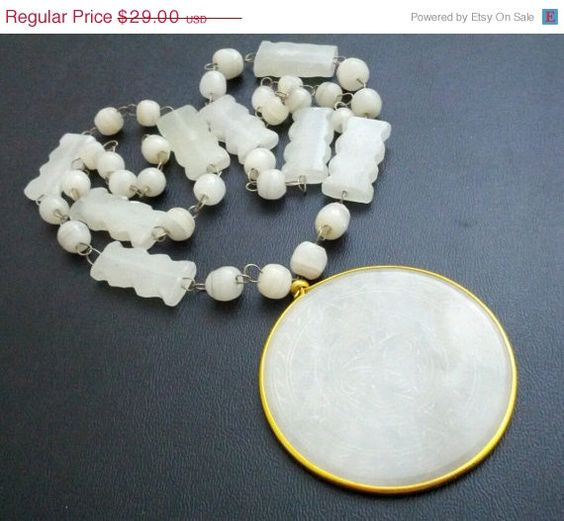 SALE Vintage White Quartz Asian Carved Pendant by MemawsTopDrawer