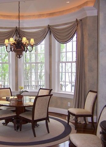 Bay Window Treatments For Living Room Lanzhome Com In 2020 Window Treatments Living Room Dining Room Window Treatments Dining Room Curtains