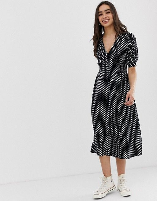 Asos Design Button Through Midi Tea Dress With Shirred Waist In Polka Dot Asos Tea Dress Maxi Dress Prom Latest Fashion Clothes