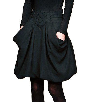 Black Pocket Bubble Skirt - Women