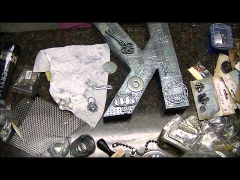 Masculine Altered Letter, using Foil tape technique to get Faux Metal appearance, Process Video #2 - YouTube