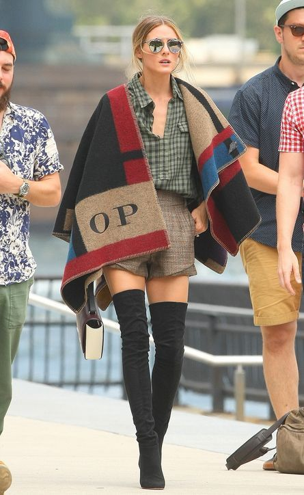 Olivia Palermo in a personalized Burberry poncho