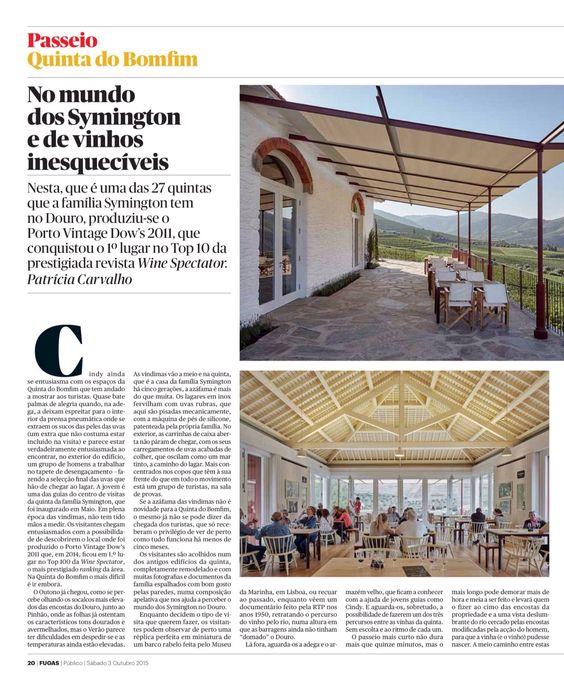 Publico . Fugas . 3 de Outubro de 2015 . Quinta do Bomfim . Douro