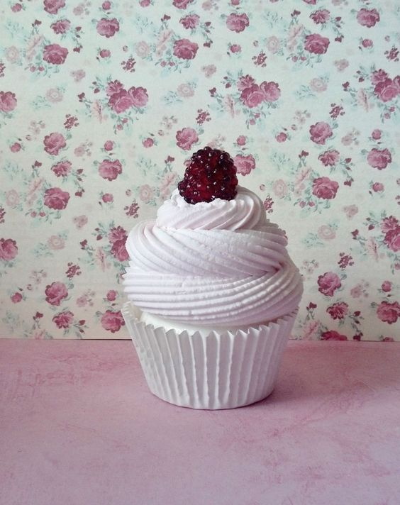 White Chocolate Raspberry Fake Cupcake Photo Prop Home Decor House Staging #FakeCupcakeCreations