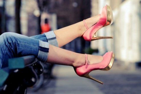 jeans and heels!