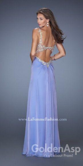 La Femme 19585 Prom Dress, from Golden Asp's selection of open back #prom dresses. Visit our #dress shop in Bensalem, Pennsylvania, or shop for open back dresses online at http://www.goldenaspprom.com/shop/dresses/style/open-back-prom-dresses #prom2015 #prom2k15
