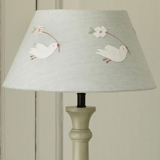 "Bird Lamp Shade: Handmade 12"" Lamp Shade, With Embroidered"