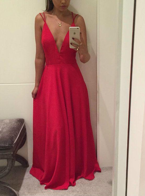 V Neck Red Maxi Dress Semi Formal Occasion Dress Prom Dress