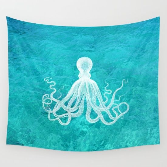 Nautical+Decor+-+Octopus+in+the+Clear+Turquoise+Water+Wall+Tapestry+by+Lena+Photo+Art+-+$39.00