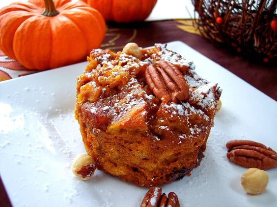 Pumpkin Bread Pudding- with bourbon-soaked golden raisins ...