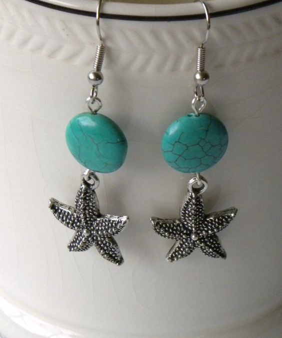 Seaside handmade beaded earrings turquoise gemstone for Unique stones for jewelry making