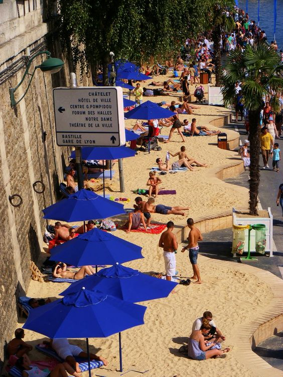 Paris - Plage, along the Seine, during summer