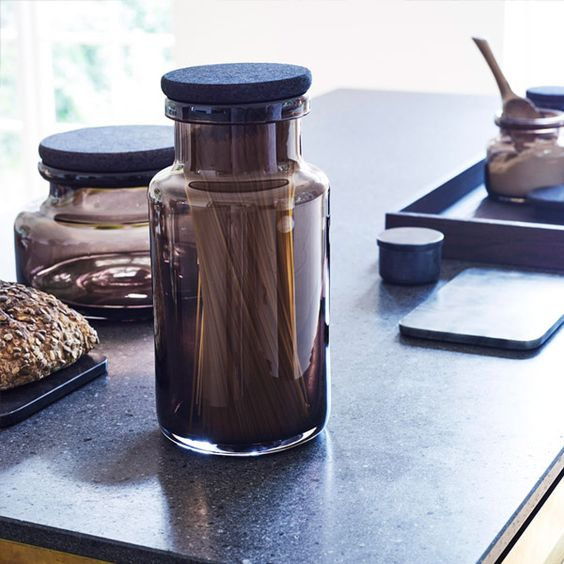 Louise Roe Copenhagen Viggo glass container, smoke | Storage | Decoration | Finnish Design Shop