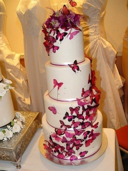 The most beautiful wedding cake idea I have ever seen.  So beautiful I have to do this