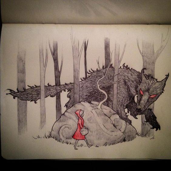 #littleredrydinghood#art #drawing #pen #sketchbook#folklore#wolf#instaart #grimm#illustration#fairytale like and follow:)