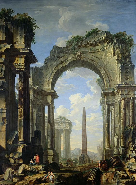 Landscape With Ruins (Capriccio) by Giovanni Niccolo Servandoni, 18th century architect and artist