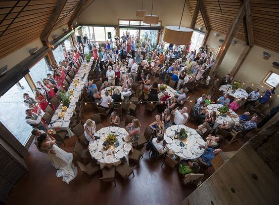 Bend Oregon Weddings Venues | The Barn Brasada Ranch | Wedding Locations in Oregon. The Barn seats up to 140 guests, plus more on the grass terrace.
