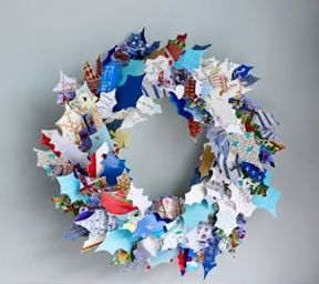 recycled Christmas card wreath