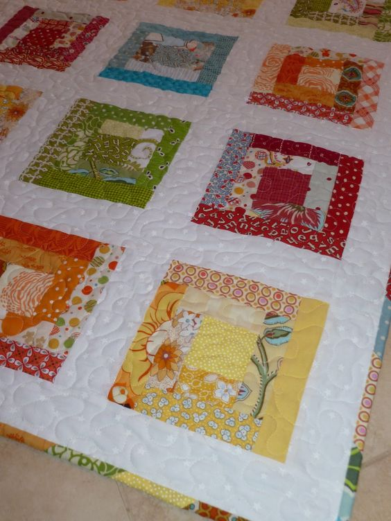 Rainbow Log Cabin Quilt With White Background Diy