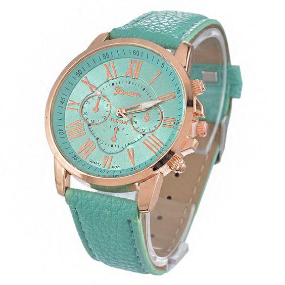 TOP brand Geneva Watches Women PU Leather wristwatches ladies dress watch reloj ladies gold Quart Watch gift