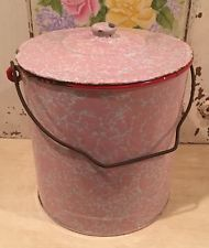 Rare Vintage French Enamel Bucket & Lid w/Handle ~ Pink on White Marbled Design