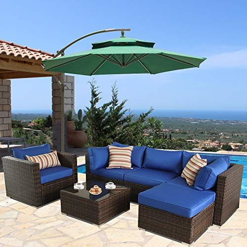 Outime Patio Furniture Sofa 6pcs Brown Rattan Wicker Couch Set
