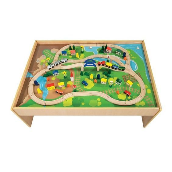 All Aboard Wood Train Table