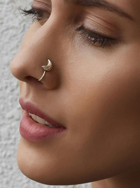 Silver Crescent Moon Nose Ring With Images Nose Ring Jewelry