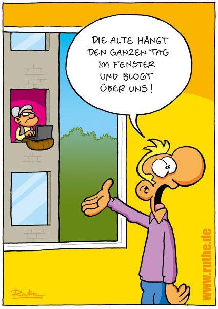 Cartoon von Ruthe – Shit happens!  ...immr mehr ältere Menschen entdecken die Vorteile des Internets ;)